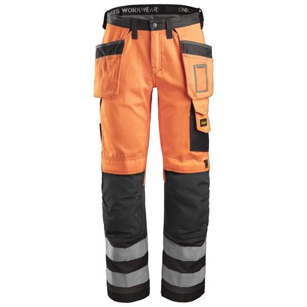 Snickers 3233 - Pantalon haute visibilité avec poches holster, Classe 2
