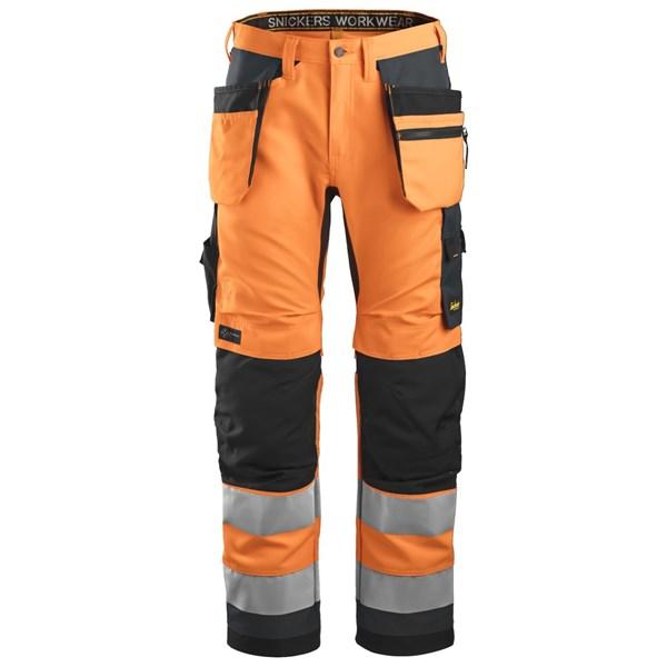 Snickers 6230 - AllroundWork Pantalon+ haute visibilité avec poches holster, Classe 2