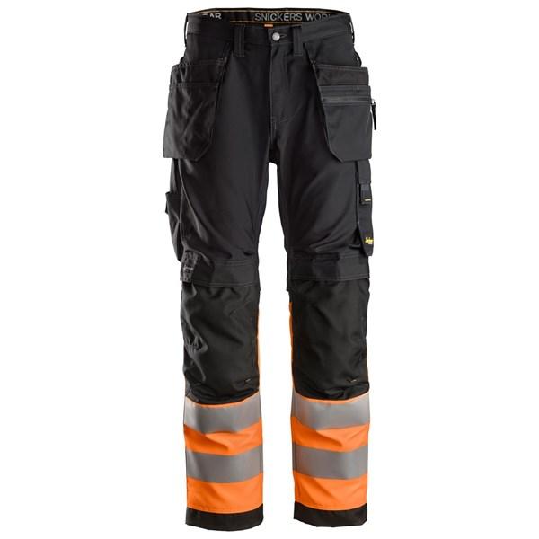 Snickers 6233 - AllroundWork Pantalon+ avec poches holster, haute visibilité, Classe 1