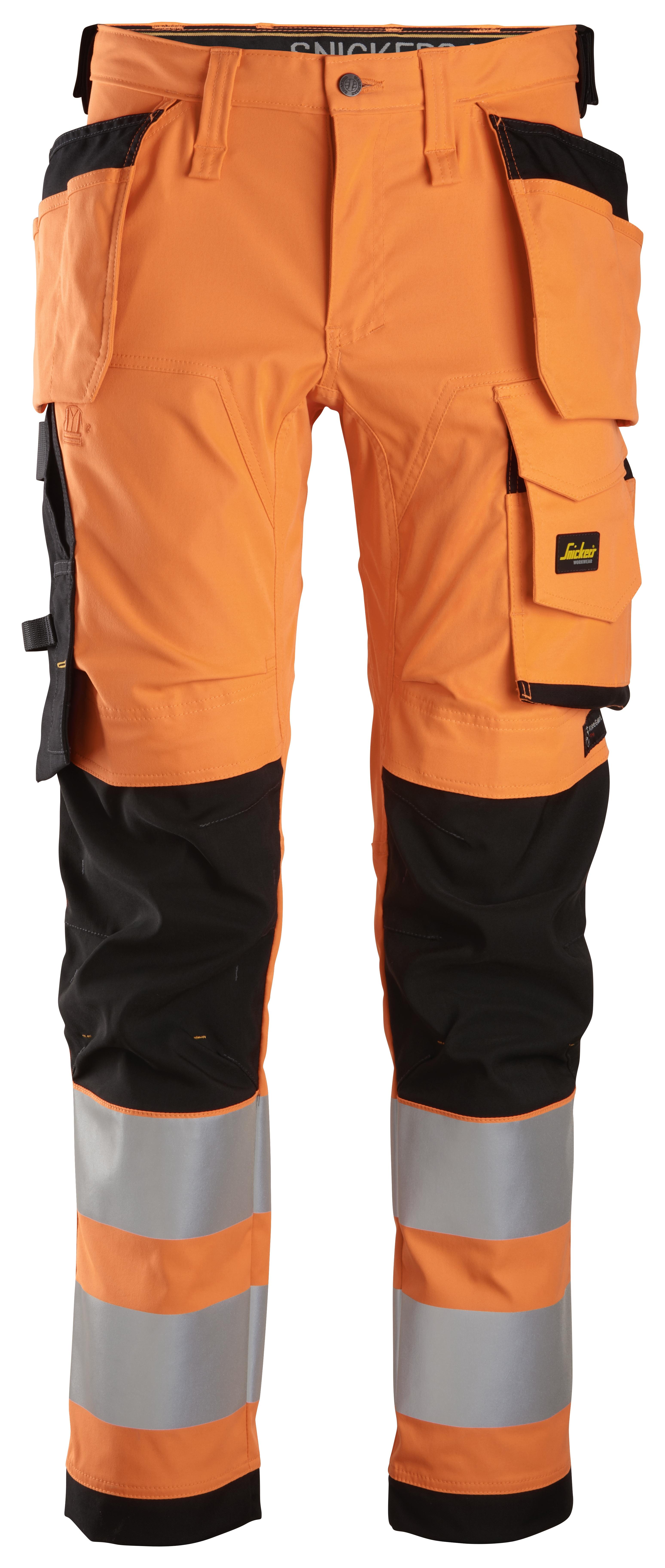 Snickers 6243 - AllroundWork Pantalon en tissu extensible avec poches holster, haute visibilité, Classe 10