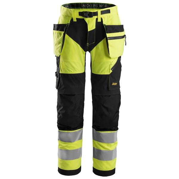 Snickers 6932 - FlexiWork Pantalon haute visibilité avec poches holster, Classe 2